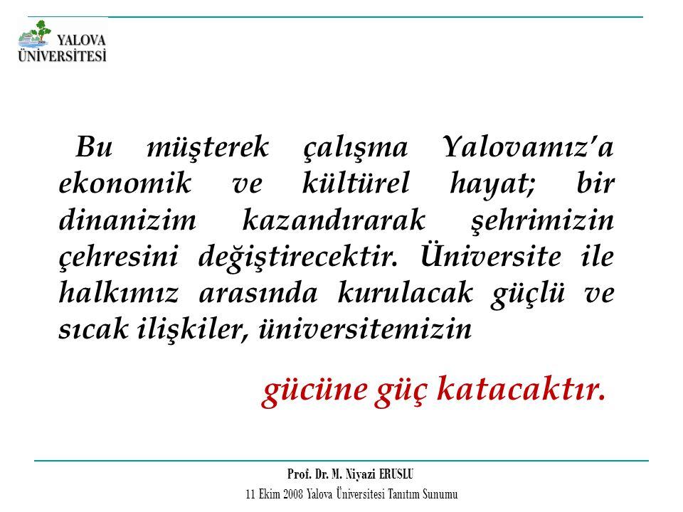 Prof. Dr. M. Niyazi ERUSLU 11 Ekim 2008 Yalova Üniversitesi Tanıtım Sunumu Bu müşterek çalışma Yalovamız'a ekonomik ve kültürel hayat; bir dinanizim k