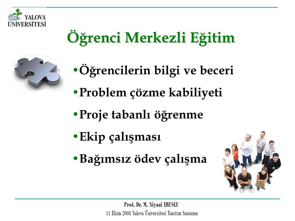 Prof. Dr. M. Niyazi ERUSLU 11 Ekim 2008 Yalova Üniversitesi Tanıtım Sunumu Öğrencilerin bilgi ve beceri Problem çözme kabiliyeti Proje tabanlı öğrenme
