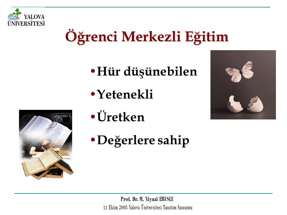 Prof. Dr. M. Niyazi ERUSLU 11 Ekim 2008 Yalova Üniversitesi Tanıtım Sunumu Hür düşünebilen Yetenekli Üretken Değerlere sahip Öğrenci Merkezli Eğitim