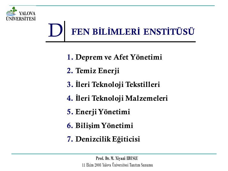 Prof. Dr. M. Niyazi ERUSLU 11 Ekim 2008 Yalova Üniversitesi Tanıtım Sunumu D FEN B İ L İ MLER İ ENST İ TÜSÜ 1.Deprem ve Afet Yönetimi 2.Temiz Enerji 3