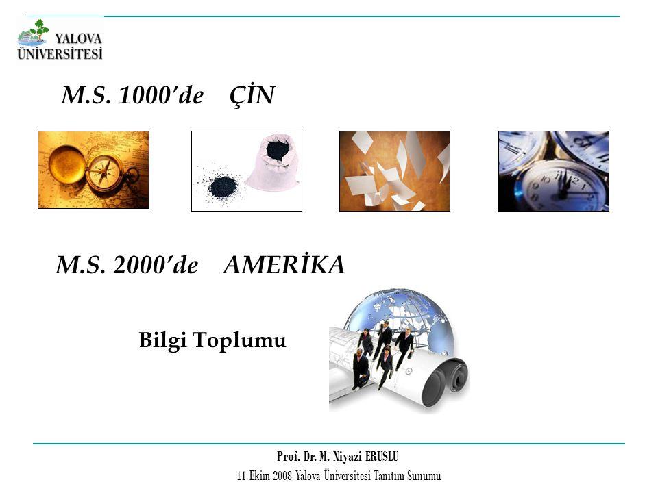 Prof. Dr. M. Niyazi ERUSLU 11 Ekim 2008 Yalova Üniversitesi Tanıtım Sunumu M.S. 1000'de ÇİN M.S. 2000'de AMERİKA Bilgi Toplumu
