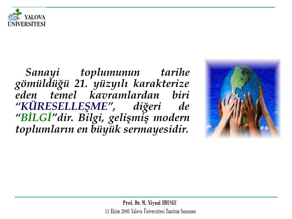 Prof. Dr. M. Niyazi ERUSLU 11 Ekim 2008 Yalova Üniversitesi Tanıtım Sunumu Sanayi toplumunun tarihe gömüldüğü 21. yüzyılı karakterize eden temel kavra