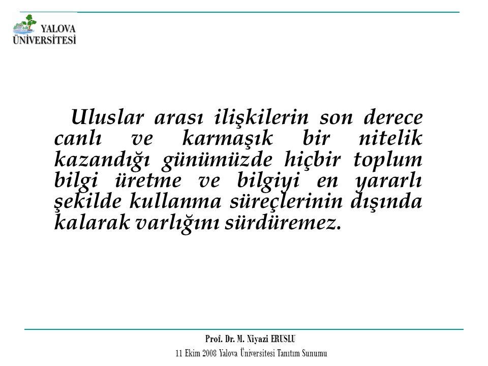 Prof. Dr. M. Niyazi ERUSLU 11 Ekim 2008 Yalova Üniversitesi Tanıtım Sunumu Uluslar arası ilişkilerin son derece canlı ve karmaşık bir nitelik kazandığ