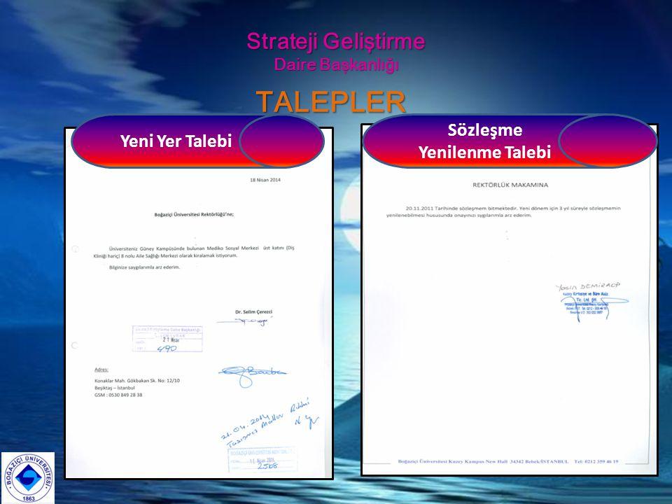 Strateji Geliştirme Daire Başkanlığı TALEPLER Yeni Yer Talebi Sözleşme Yenilenme Talebi
