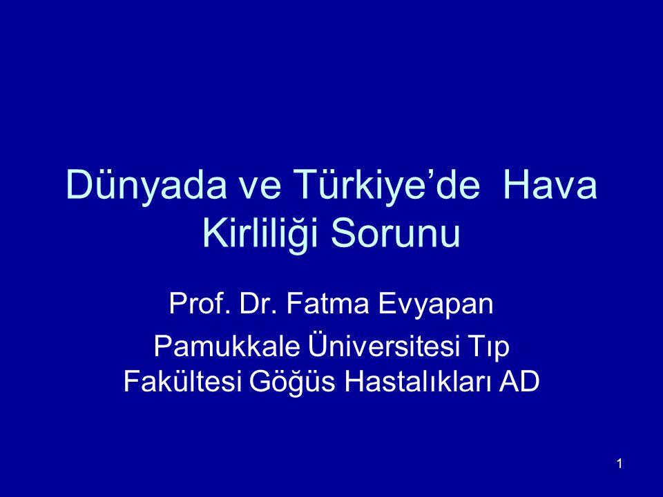 1 Dünyada ve Türkiye'de Hava Kirliliği Sorunu Prof. Dr. Fatma Evyapan Pamukkale Üniversitesi Tıp Fakültesi Göğüs Hastalıkları AD