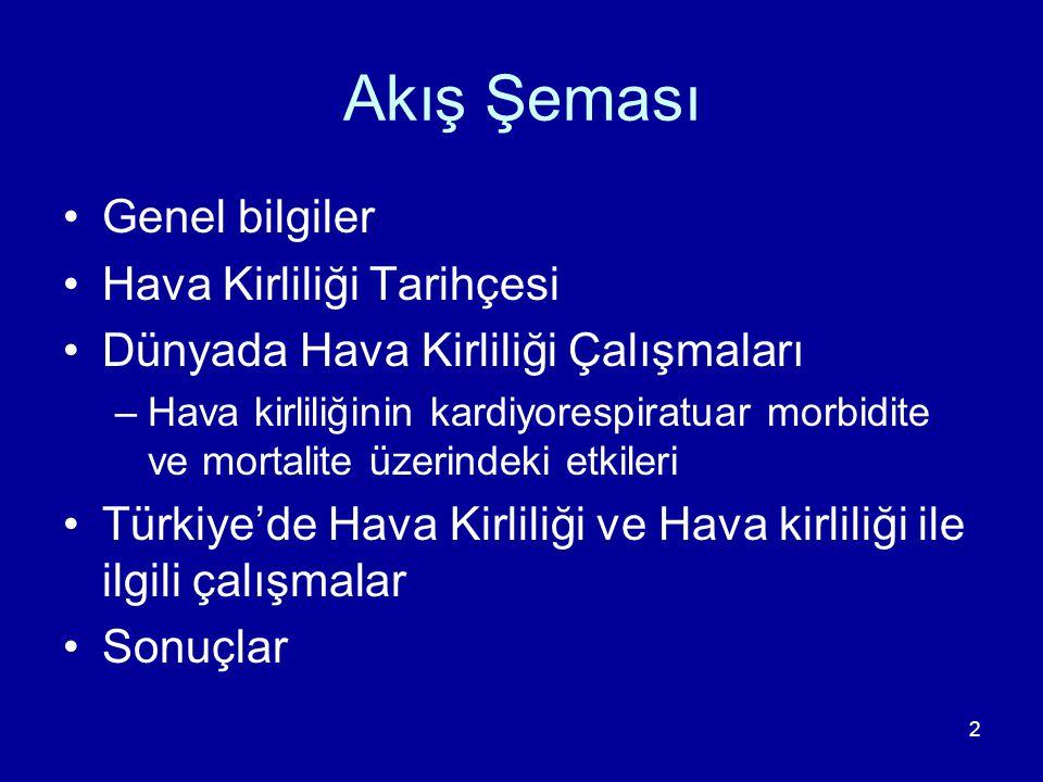 23 Tarihsel Gelişim 1970'lerden itibaren öncelikle Ankara'da ortaya çıkmıştır 1980'li yıllarda özellikle kış sezonunda bazı kentlerde önemli bir sorun 1984'ten itibaren Sağlık Bakanlığı il merkezlerindeki hava kirliliği parametrelerini (SO 2 ve BS) ölçmeye başlamış 1990'lı yılların başında pek çok ilde çok yüksek düzeylere varmıştır 1991 yılında ölçümler DİE (Türkiye İstatistik Kurumu) tarafından yayınlanmaya başlamıştır.