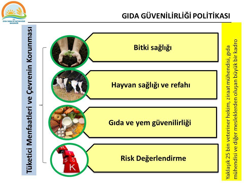 Bitki sağlığı Hayvan sağlığı ve refahı Gıda ve yem güvenilirliği Risk Değerlendirme Tüketici Menfaatleri ve Çevrenin Korunması Yaklaşık 25 bin veterin