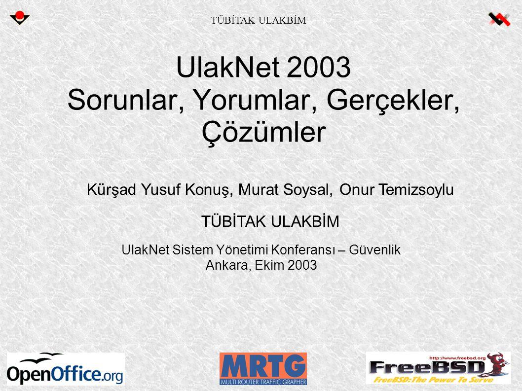 UlakNet 2003 Sorunlar, Yorumlar, Gerçekler, Çözümler UlakNet Sistem Yönetimi Konferansı – Güvenlik Ankara, Ekim 2003 Kürşad Yusuf Konuş, Murat Soysal, Onur Temizsoylu TÜBİTAK ULAKBİM