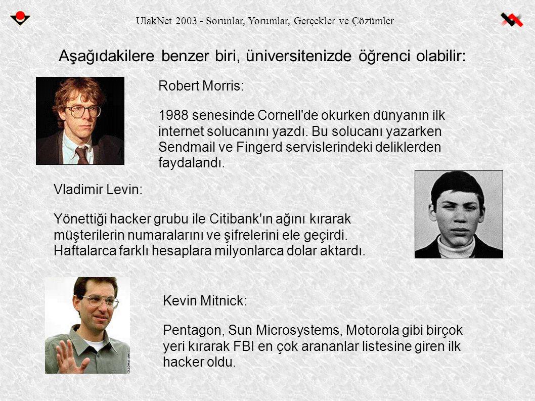 UlakNet 2003 - Sorunlar, Yorumlar, Gerçekler ve Çözümler Aşağıdakilere benzer biri, üniversitenizde öğrenci olabilir: Kevin Mitnick: Pentagon, Sun Microsystems, Motorola gibi birçok yeri kırarak FBI en çok arananlar listesine giren ilk hacker oldu.