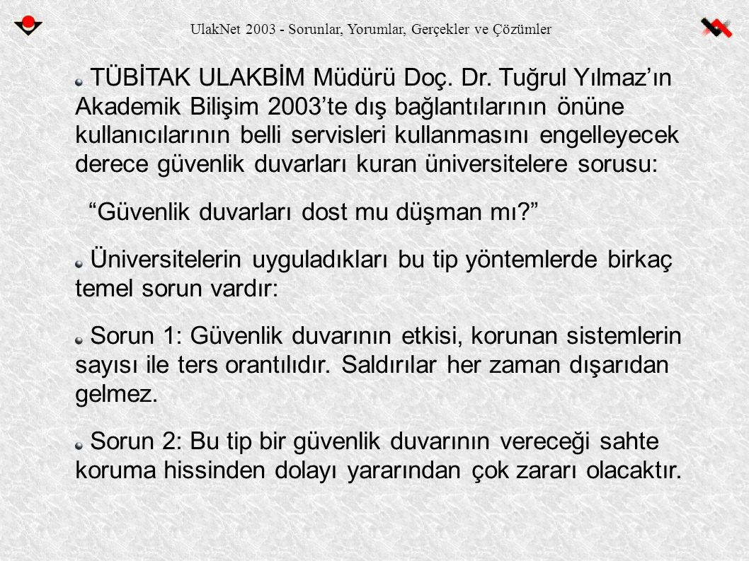 UlakNet 2003 - Sorunlar, Yorumlar, Gerçekler ve Çözümler TÜBİTAK ULAKBİM Müdürü Doç. Dr. Tuğrul Yılmaz'ın Akademik Bilişim 2003'te dış bağlantılarının