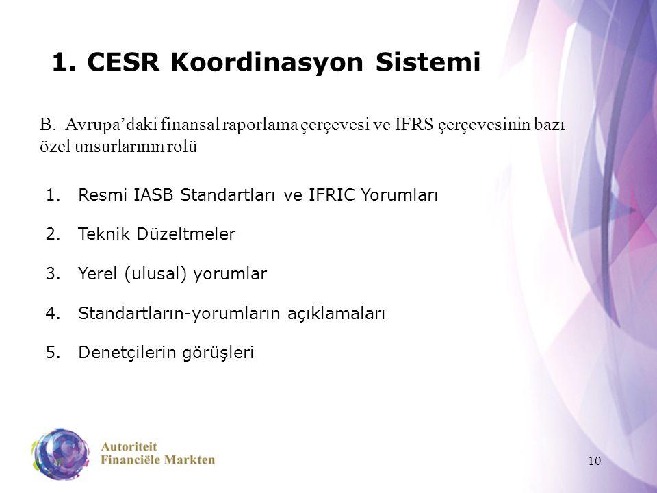 10 1. CESR Koordinasyon Sistemi B. Avrupa'daki finansal raporlama çerçevesi ve IFRS çerçevesinin bazı özel unsurlarının rolü 1.Resmi IASB Standartları