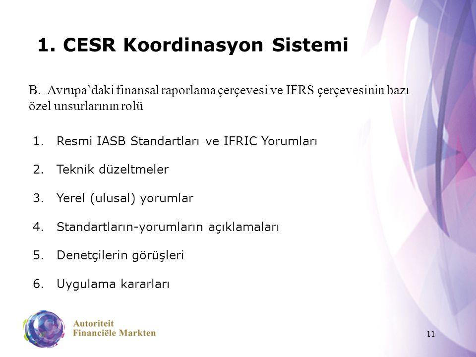 11 1. CESR Koordinasyon Sistemi B. Avrupa'daki finansal raporlama çerçevesi ve IFRS çerçevesinin bazı özel unsurlarının rolü 1.Resmi IASB Standartları