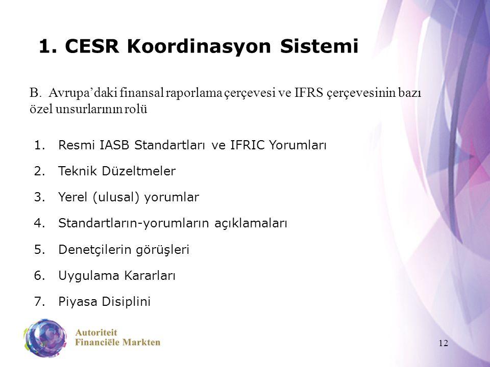12 1. CESR Koordinasyon Sistemi B. Avrupa'daki finansal raporlama çerçevesi ve IFRS çerçevesinin bazı özel unsurlarının rolü 1.Resmi IASB Standartları