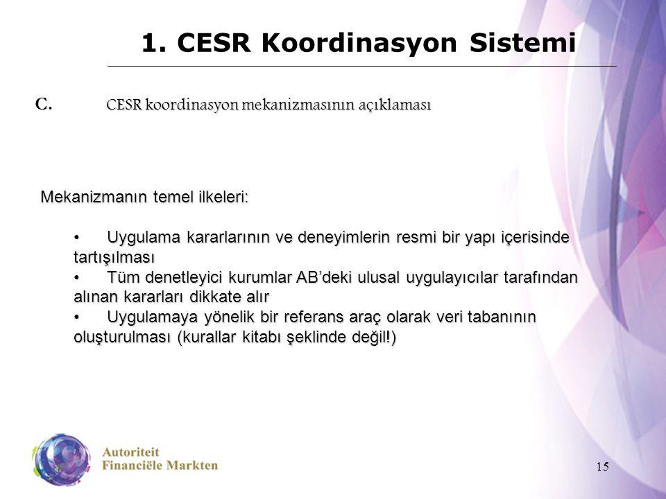 15 1. CESR Koordinasyon Sistemi CESR koordinasyon mekanizmasının açıklaması C. CESR koordinasyon mekanizmasının açıklaması Mekanizmanın temel ilkeleri
