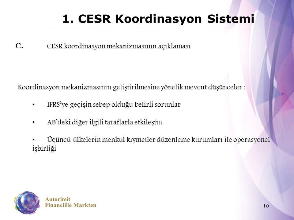 16 1. CESR Koordinasyon Sistemi CESR koordinasyon mekanizmasının açıklaması C. CESR koordinasyon mekanizmasının açıklaması Koordinasyon mekanizmasının