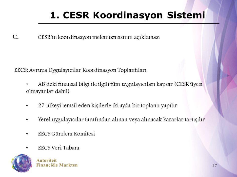 17 1. CESR Koordinasyon Sistemi CESR'in koordinasyon mekanizmasının açıklaması C. CESR'in koordinasyon mekanizmasının açıklaması EECS: Avrupa Uygulayı