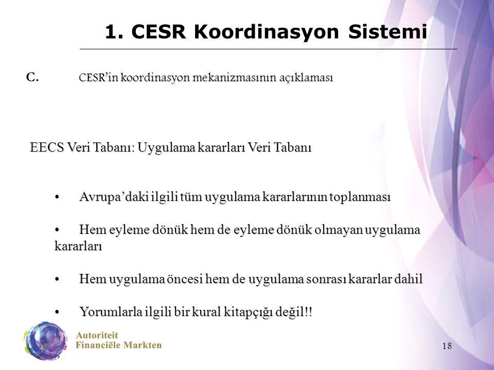 18 1. CESR Koordinasyon Sistemi CESR'in koordinasyon mekanizmasının açıklaması C. CESR'in koordinasyon mekanizmasının açıklaması EECS Veri Tabanı: Uyg