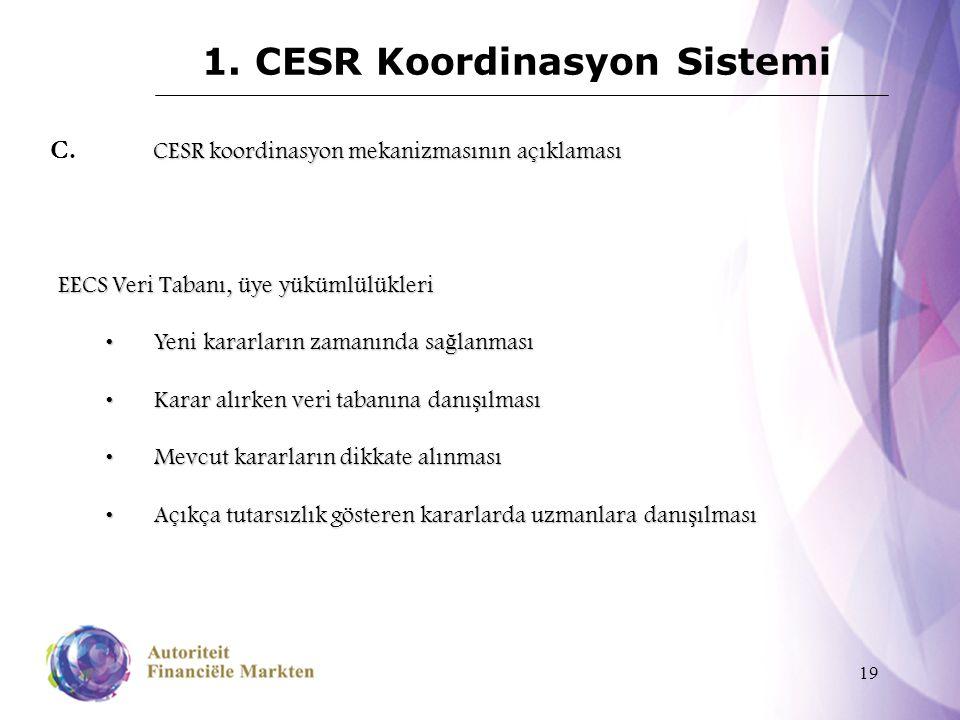 19 1. CESR Koordinasyon Sistemi CESR koordinasyon mekanizmasının açıklaması C. CESR koordinasyon mekanizmasının açıklaması EECS Veri Tabanı, üye yüküm