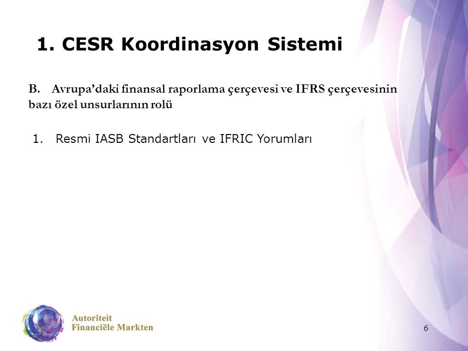 6 1. CESR Koordinasyon Sistemi 1.Resmi IASB Standartları ve IFRIC Yorumları B.Avrupa'daki finansal raporlama çerçevesi ve IFRS çerçevesinin bazı özel