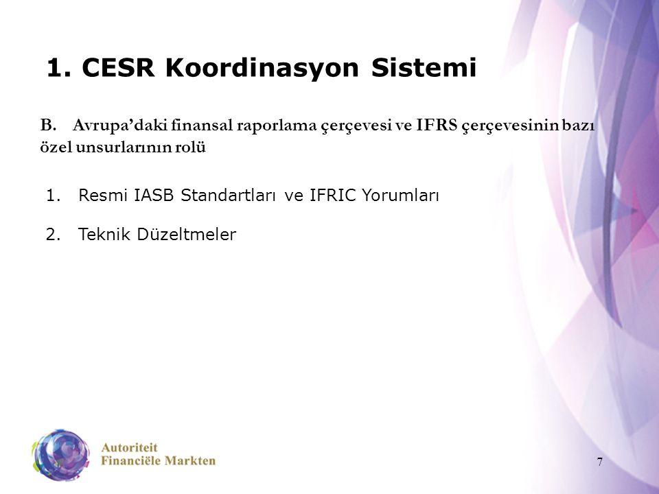 7 1. CESR Koordinasyon Sistemi 1.Resmi IASB Standartları ve IFRIC Yorumları 2.Teknik Düzeltmeler B.Avrupa'daki finansal raporlama çerçevesi ve IFRS çe
