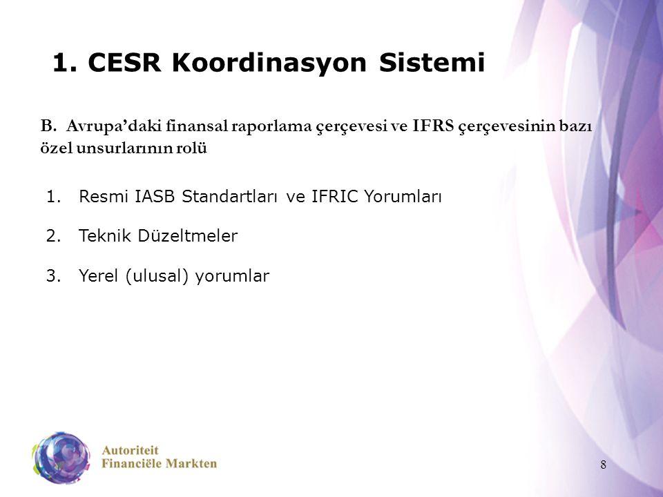 8 1. CESR Koordinasyon Sistemi B. Avrupa'daki finansal raporlama çerçevesi ve IFRS çerçevesinin bazı özel unsurlarının rolü 1.Resmi IASB Standartları