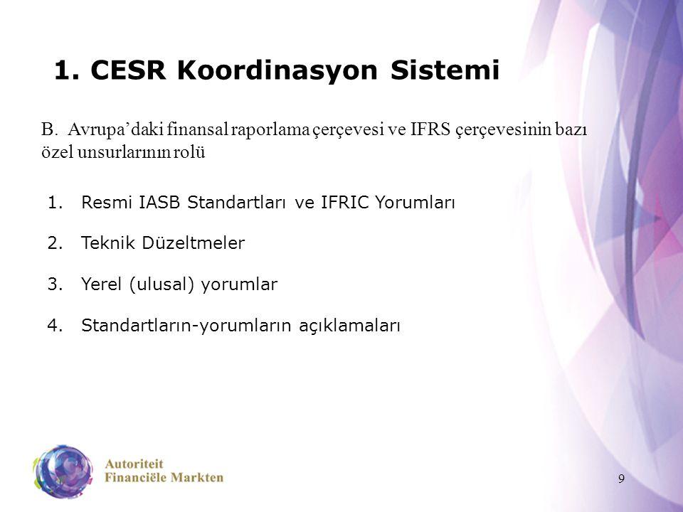 9 1. CESR Koordinasyon Sistemi B. Avrupa'daki finansal raporlama çerçevesi ve IFRS çerçevesinin bazı özel unsurlarının rolü 1.Resmi IASB Standartları