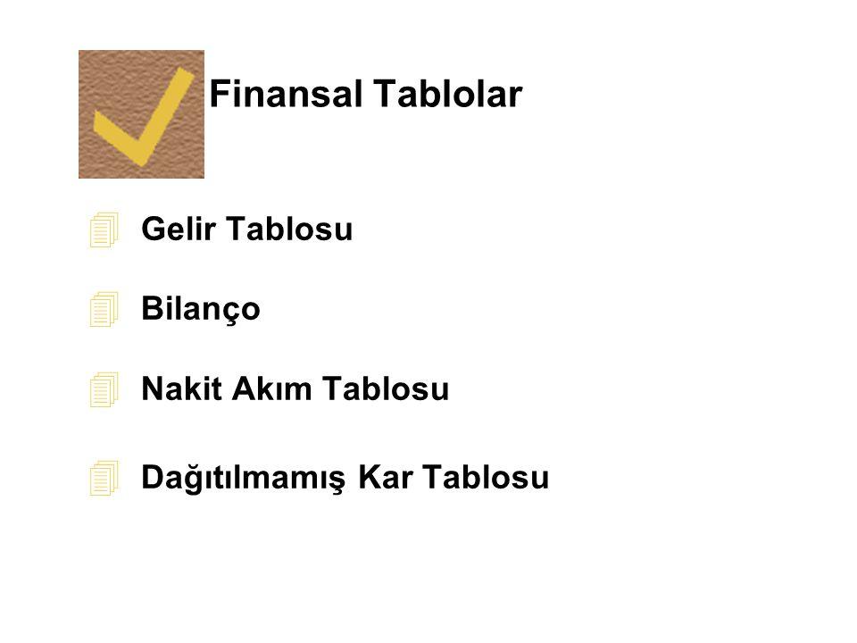 Finansal Tablolar 4 Gelir Tablosu 4 Bilanço 4 Nakit Akım Tablosu 4 Dağıtılmamış Kar Tablosu