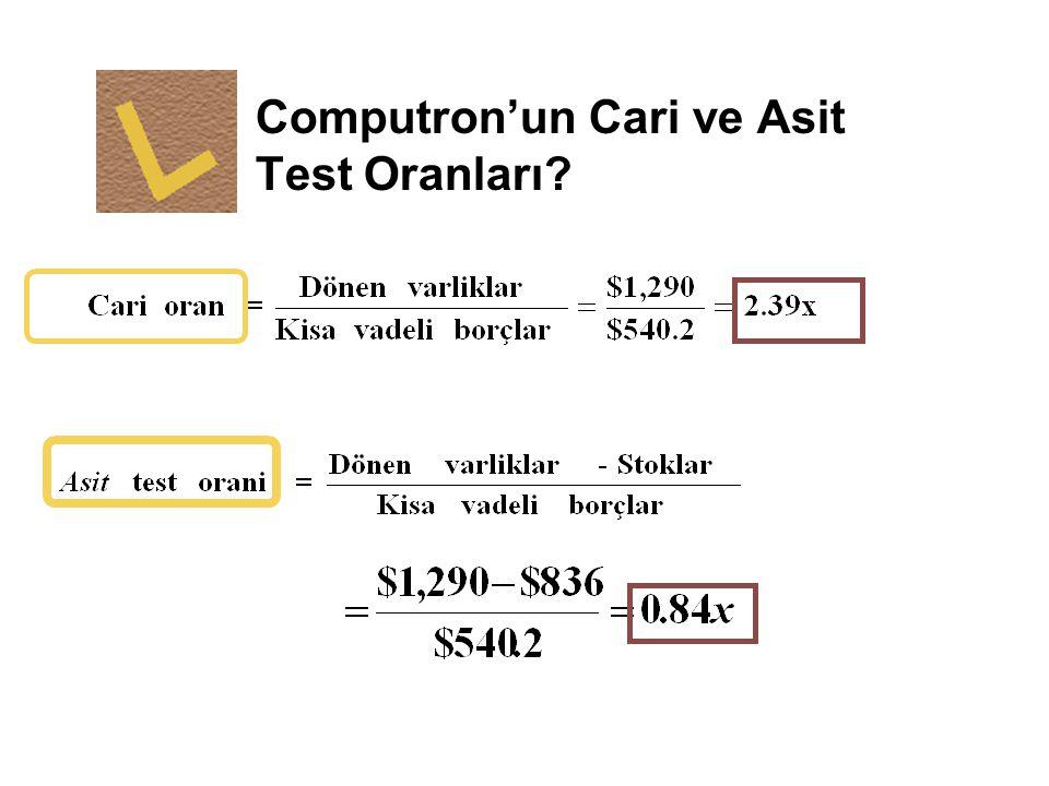 Computron'un Cari ve Asit Test Oranları?