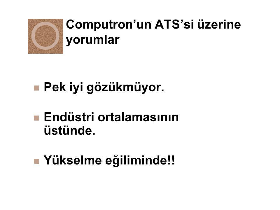 Computron'un ATS'si üzerine yorumlar n Pek iyi gözükmüyor. n Endüstri ortalamasının üstünde. n Yükselme eğiliminde!!