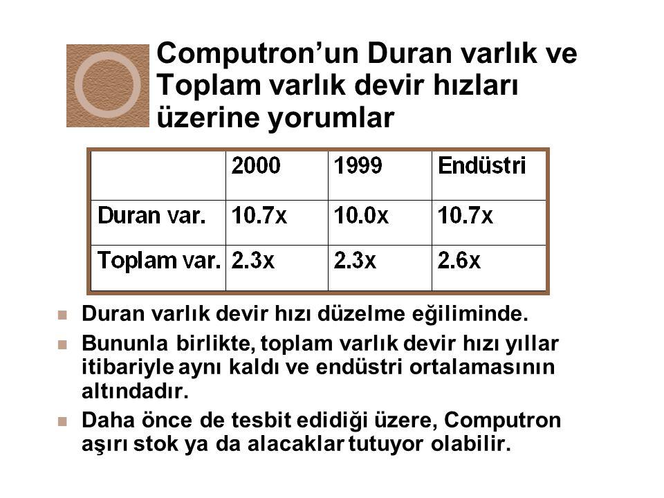 Computron'un Duran varlık ve Toplam varlık devir hızları üzerine yorumlar n Duran varlık devir hızı düzelme eğiliminde. n Bununla birlikte, toplam var