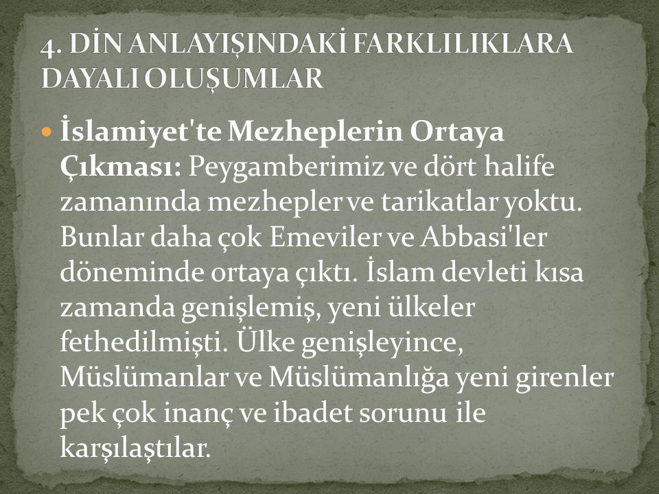 İslamiyet te Mezheplerin Ortaya Çıkması: Mezhep kurucuları, bu sorunları çözmek için yorumlar yaptılar.
