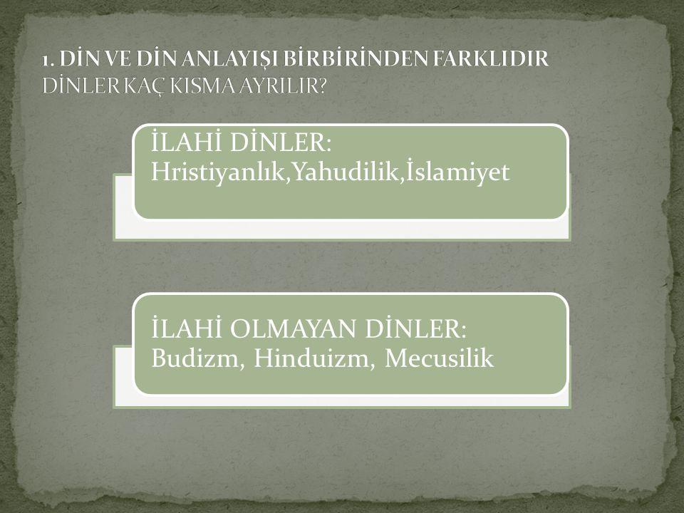 Dinler, genellikle ilahi ve beşeri dinler olarak ikiye ayrılır.