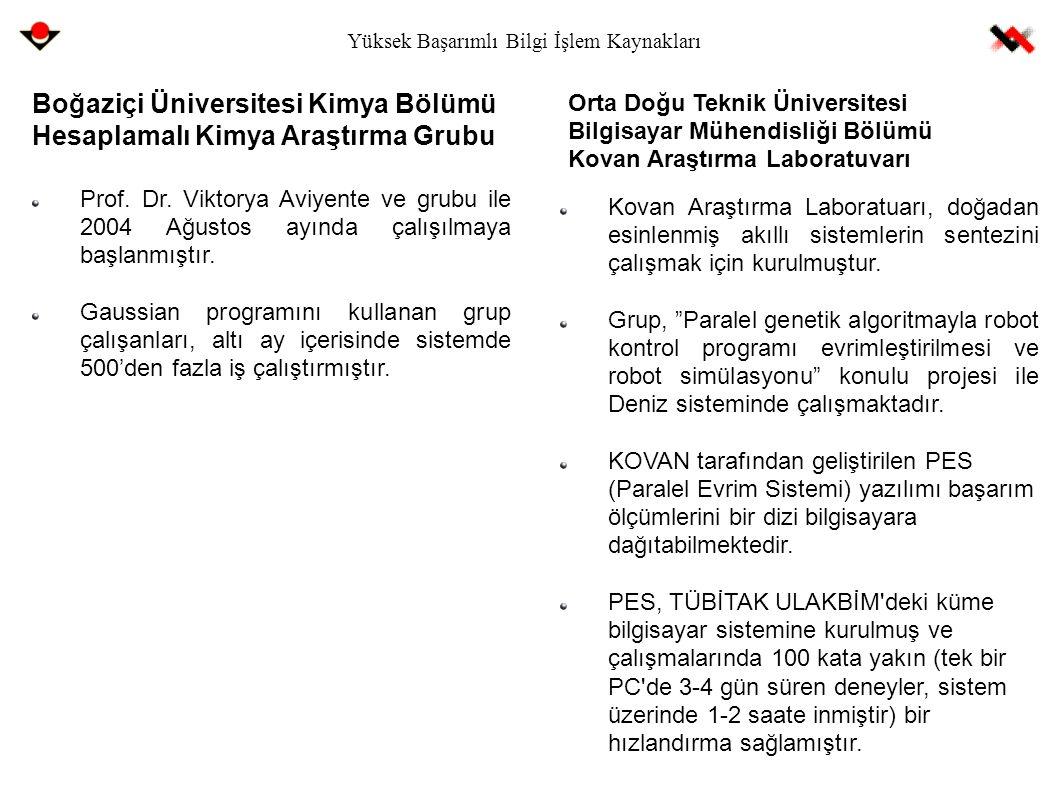 Yüksek Başarımlı Bilgi İşlem Kaynakları Boğaziçi Üniversitesi Kimya Bölümü Hesaplamalı Kimya Araştırma Grubu Prof. Dr. Viktorya Aviyente ve grubu ile