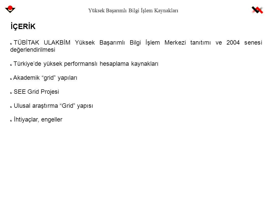 Yüksek Başarımlı Bilgi İşlem Kaynakları TÜBİTAK ULAKBİM Yüksek Başarımlı Bilgi İşlem Merkezi tanıtımı ve 2004 senesi değerlendirilmesi Türkiye'de yüks