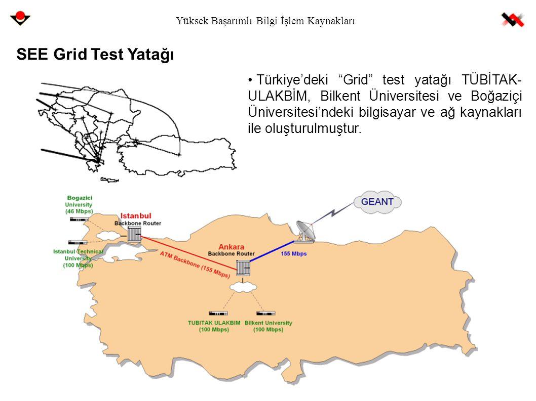 """Yüksek Başarımlı Bilgi İşlem Kaynakları SEE Grid Test Yatağı Türkiye'deki """"Grid"""" test yatağı TÜBİTAK- ULAKBİM, Bilkent Üniversitesi ve Boğaziçi Üniver"""