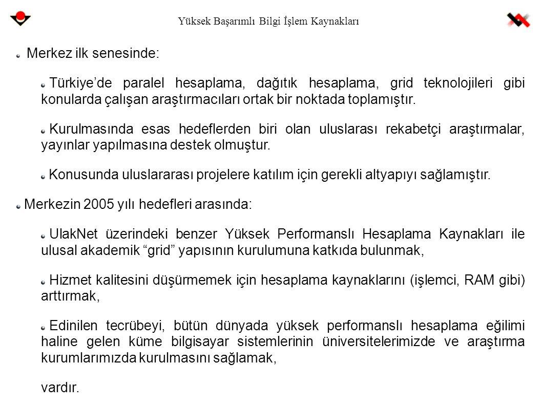 Yüksek Başarımlı Bilgi İşlem Kaynakları Merkez ilk senesinde: Türkiye'de paralel hesaplama, dağıtık hesaplama, grid teknolojileri gibi konularda çalış