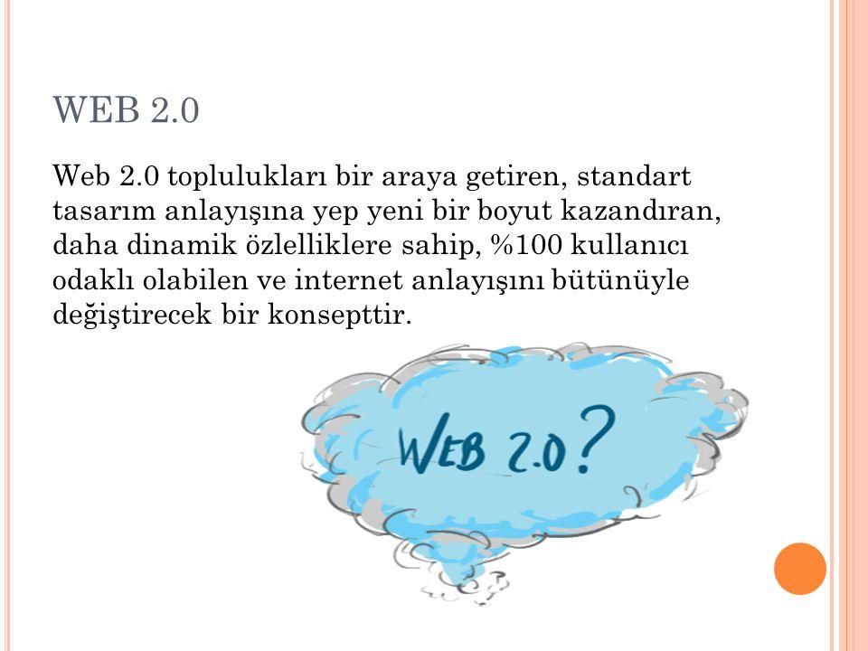 WEB 2.0 Web 2.0 toplulukları bir araya getiren, standart tasarım anlayışına yep yeni bir boyut kazandıran, daha dinamik özlelliklere sahip, %100 kulla