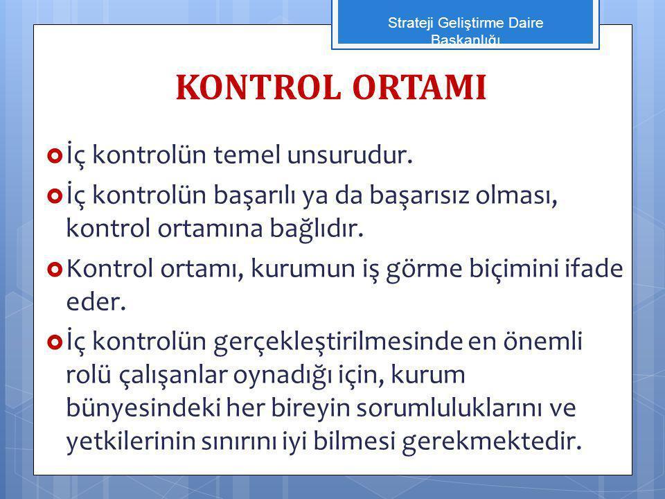 KONTROL ORTAMI  İç kontrolün temel unsurudur.  İç kontrolün başarılı ya da başarısız olması, kontrol ortamına bağlıdır.  Kontrol ortamı, kurumun iş