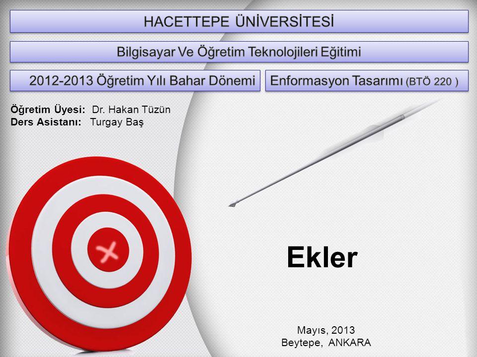 Ekler Mayıs, 2013 Beytepe, ANKARA Öğretim Üyesi: Dr. Hakan Tüzün Ders Asistanı: Turgay Baş