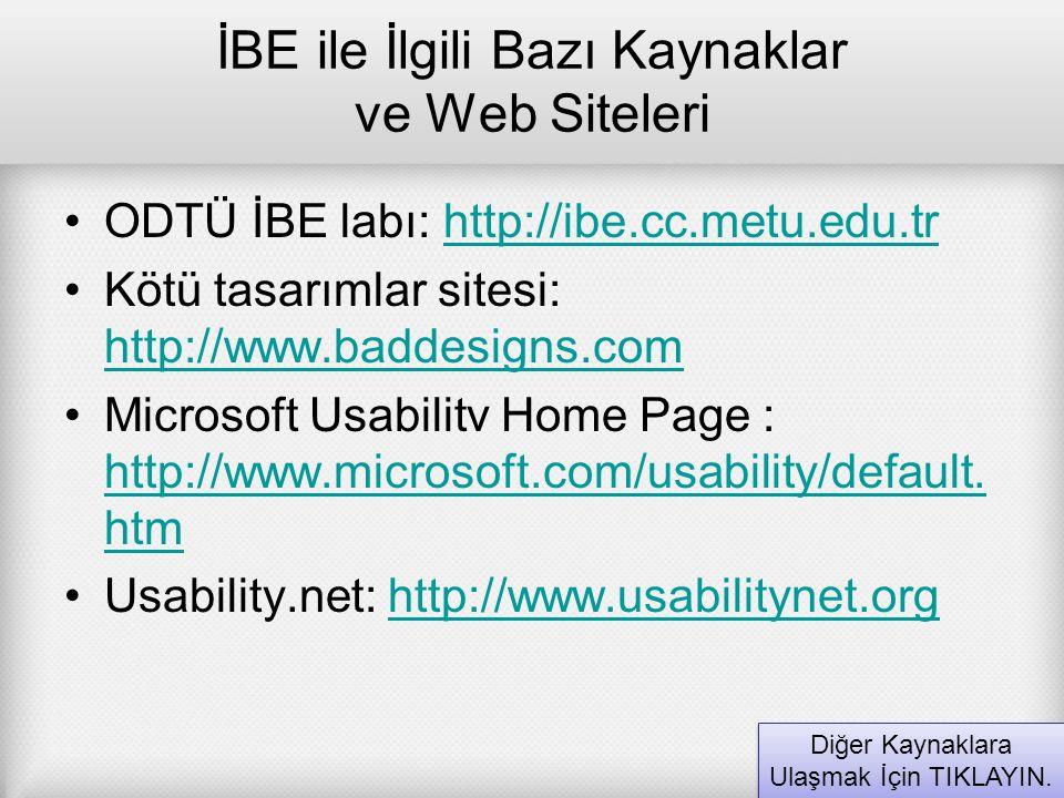 İBE ile İlgili Bazı Kaynaklar ve Web Siteleri ODTÜ İBE labı: http://ibe.cc.metu.edu.trhttp://ibe.cc.metu.edu.tr Kötü tasarımlar sitesi: http://www.bad