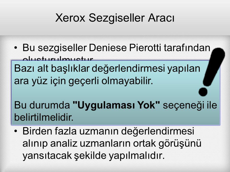Xerox Sezgiseller Aracı Bu sezgiseller Deniese Pierotti tarafından oluşturulmuştur. Orijinali İngilizcedir. Sezgisel analizler yapmak için Türkçe 'ye