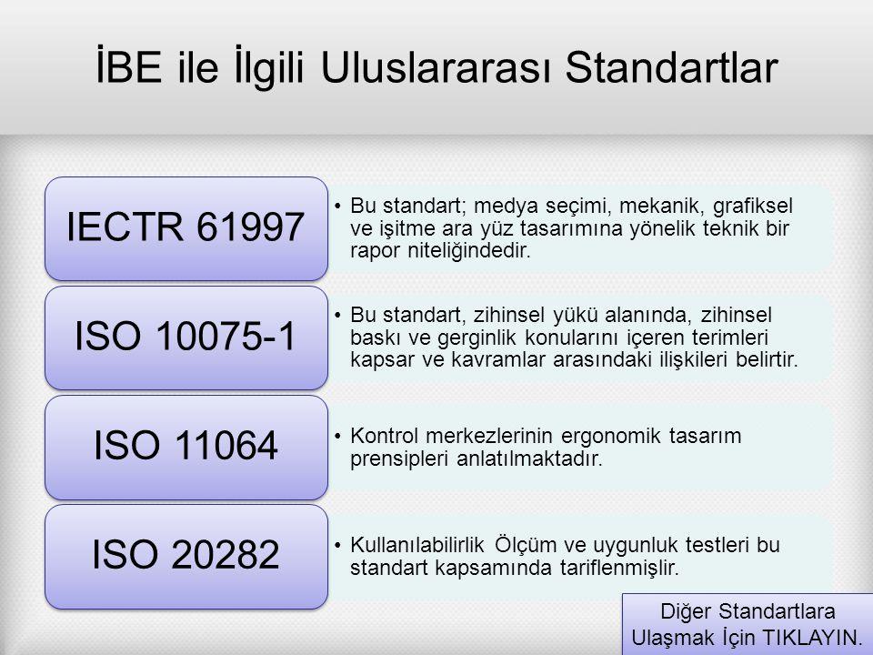 İBE ile İlgili Uluslararası Standartlar Bu standart; medya seçimi, mekanik, grafiksel ve işitme ara yüz tasarımına yönelik teknik bir rapor niteliğind
