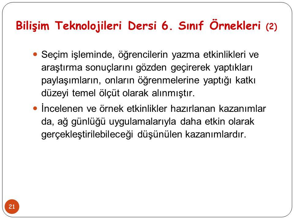 21 Bilişim Teknolojileri Dersi 6. Sınıf Örnekleri (2) Seçim işleminde, öğrencilerin yazma etkinlikleri ve araştırma sonuçlarını gözden geçirerek yaptı