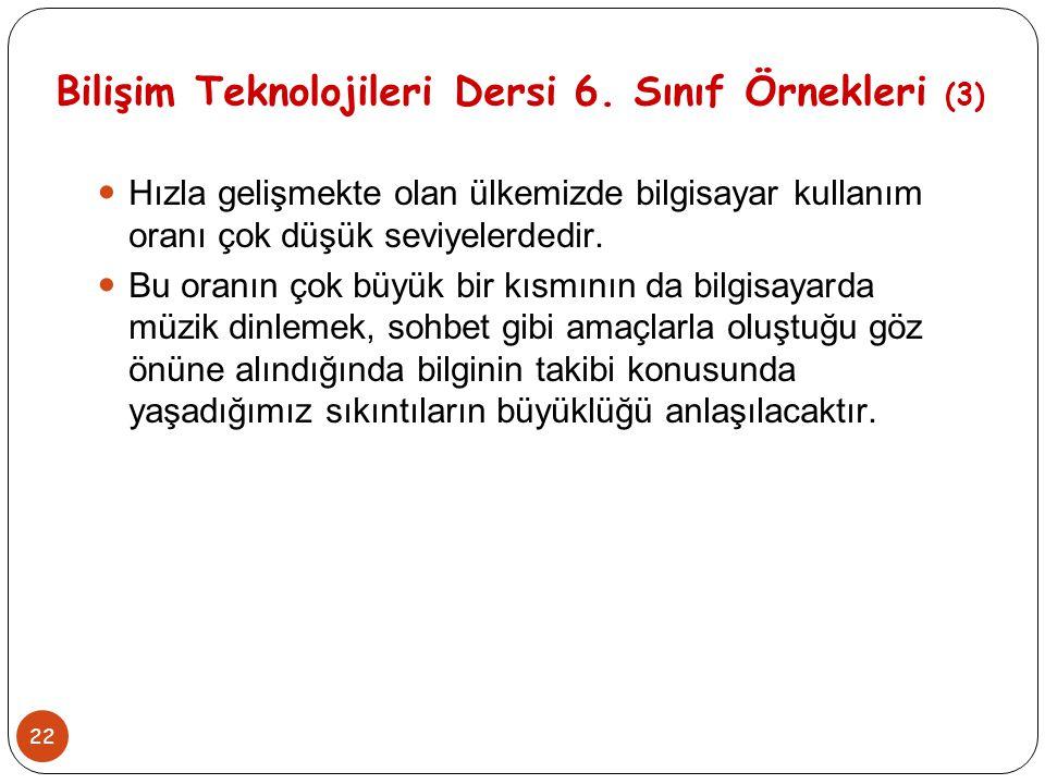 22 Bilişim Teknolojileri Dersi 6. Sınıf Örnekleri (3) Hızla gelişmekte olan ülkemizde bilgisayar kullanım oranı çok düşük seviyelerdedir. Bu oranın ço
