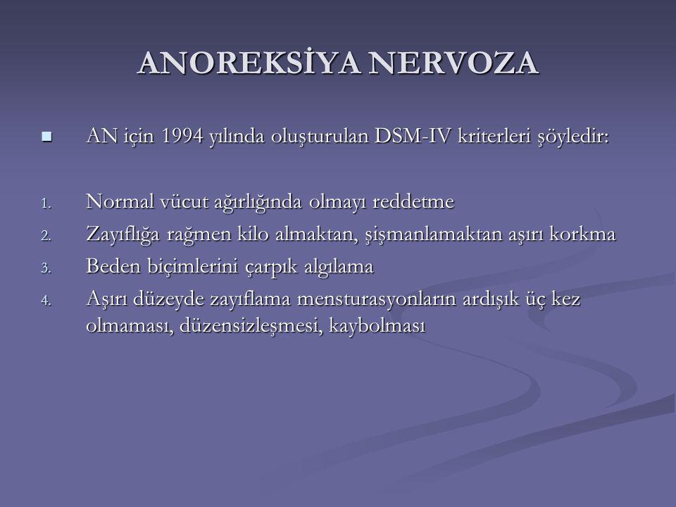 ANOREKSİYA NERVOZA AN için 1994 yılında oluşturulan DSM-IV kriterleri şöyledir: AN için 1994 yılında oluşturulan DSM-IV kriterleri şöyledir: 1. Normal