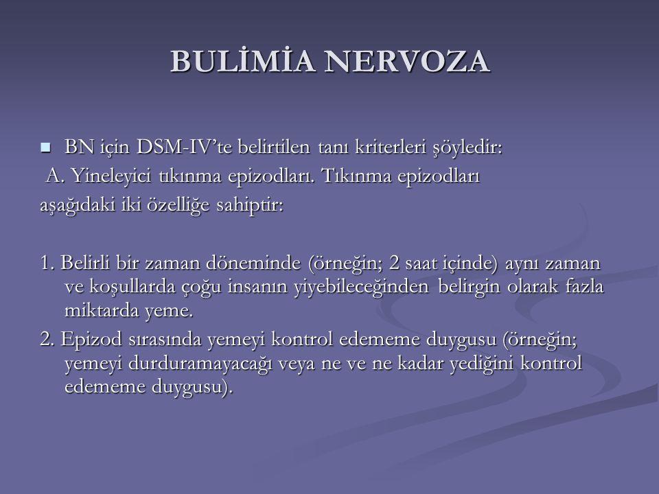 BULİMİA NERVOZA BN için DSM-IV'te belirtilen tanı kriterleri şöyledir: BN için DSM-IV'te belirtilen tanı kriterleri şöyledir: A.