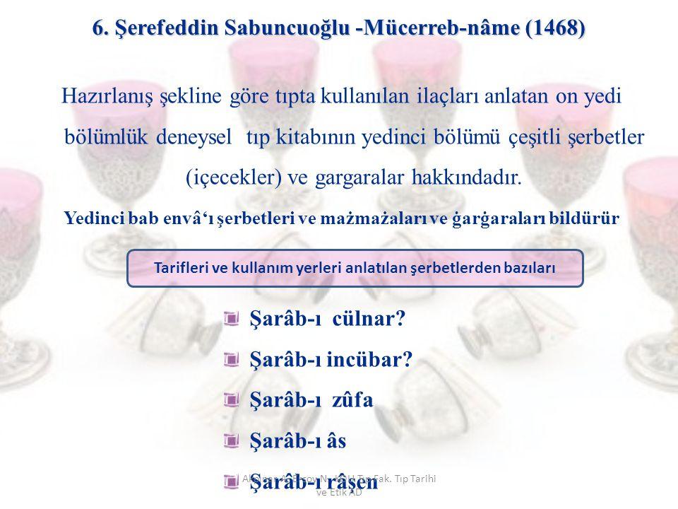 6. Şerefeddin Sabuncuoğlu -Mücerreb-nâme (1468) Hazırlanış şekline göre tıpta kullanılan ilaçları anlatan on yedi bölümlük deneysel tıp kitabının yedi