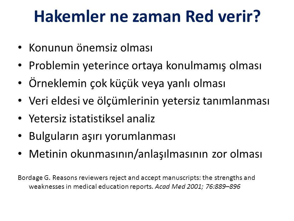 Hakemler ne zaman Red verir? Konunun önemsiz olması Problemin yeterince ortaya konulmamış olması Örneklemin çok küçük veya yanlı olması Veri eldesi ve