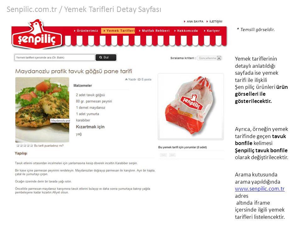 Senpilic.com.tr / Yemek Tarifleri Detay Sayfası Yemek tariflerinin detaylı anlatıldığı sayfada ise yemek tarifi ile ilişkili Şen piliç ürünleri ürün g