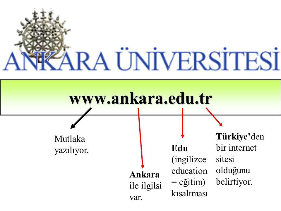 www.ankara.edu.tr Mutlaka yazılıyor. Ankara ile ilgilsi var. Edu (ingilizce education = eğitim) kısaltması Türkiye'den bir internet sitesi olduğunu be